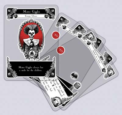 Gloom cards are printed on transparent plastic.